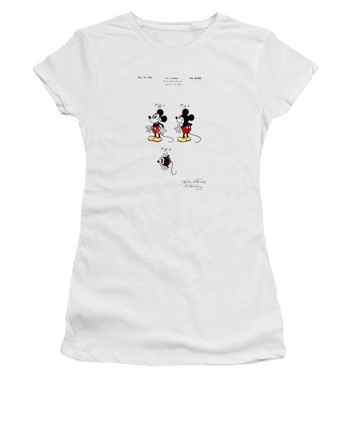 Women's T-Shirt (Junior Cut) featuring the drawing Vintage 1930 Mickey Mouse Patent by Bill Cannon