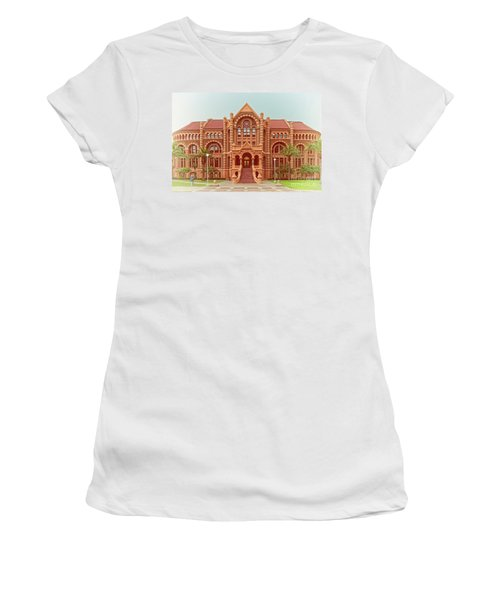 Vintage Architectural Photograph Of Ashbel Smith Old Red Building At Utmb - Downtown Galveston Texas Women's T-Shirt