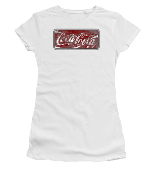 Vintage Coca Cola Red And White Sign With Transparent Background Women's T-Shirt (Athletic Fit)