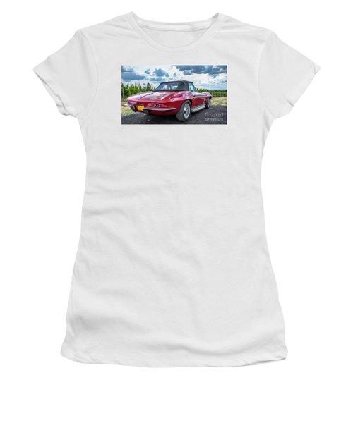 Vintage Corvette Sting Ray In Vineyard Women's T-Shirt