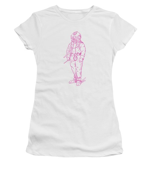 Women's T-Shirt (Junior Cut) featuring the digital art Vintage Diver by Edward Fielding