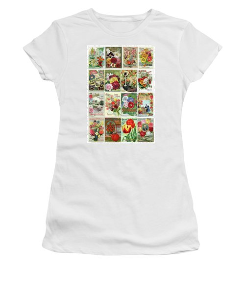 Vintage Flower Seed Packets 1 Women's T-Shirt (Athletic Fit)