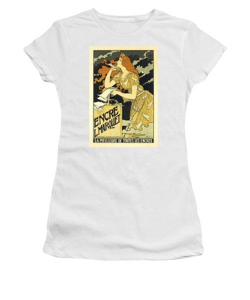 Vintage French Advertising Art Nouveau Encre L'marquet Women's T-Shirt
