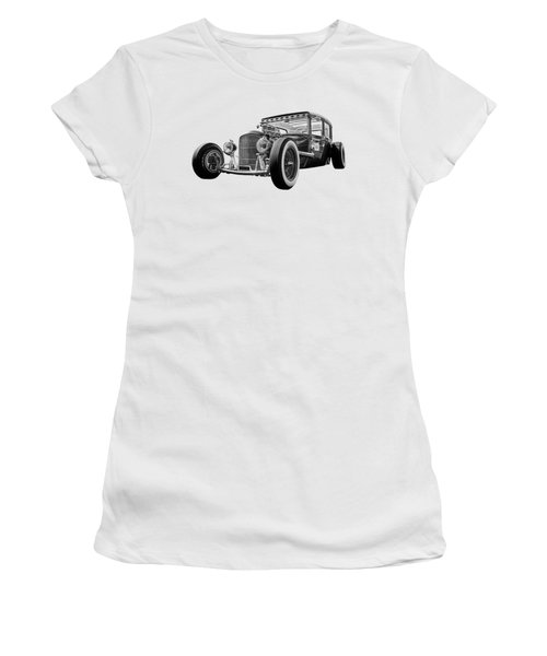 Vintage Hot Rod In Black And White Women's T-Shirt