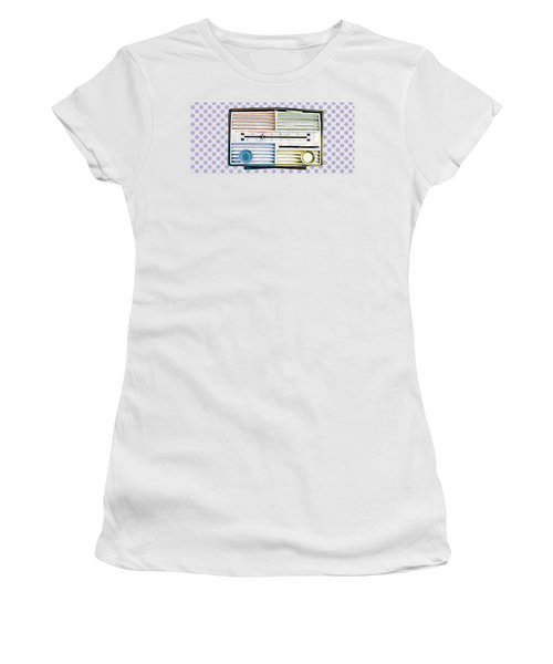 Women's T-Shirt featuring the photograph Vintage Radio Purple Dots Mug by Edward Fielding