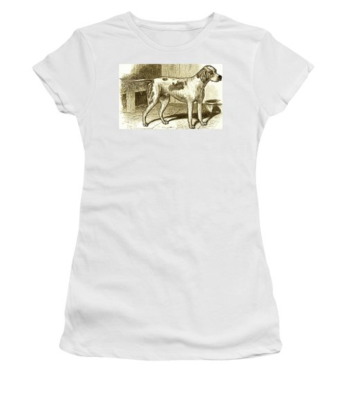 Women's T-Shirt (Junior Cut) featuring the painting Vintage Sepia German Shorthaired Pointer by Marian Cates