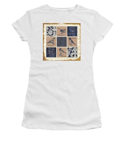 Vintage Songbird Patch 2 Women's T-Shirt (Junior Cut) by Debbie DeWitt