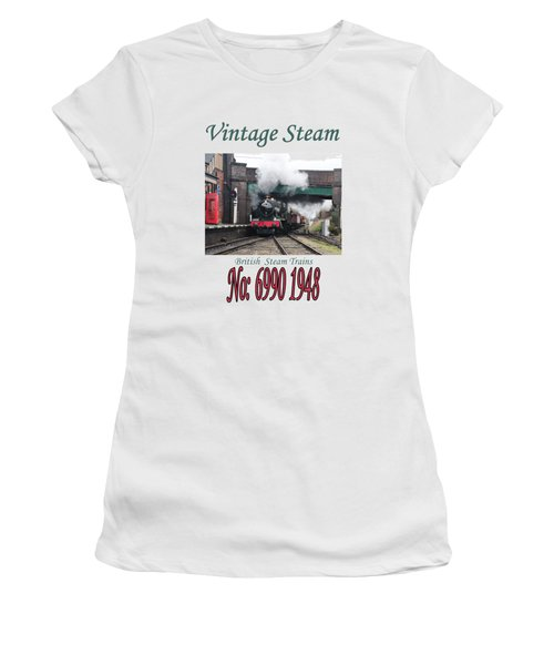 Vintage Steam Railway Train Engine Number 6990  Women's T-Shirt (Junior Cut) by Tom Conway