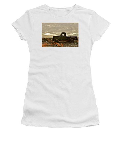 Vintage Truck Two In Pumpkin Graveyard Women's T-Shirt