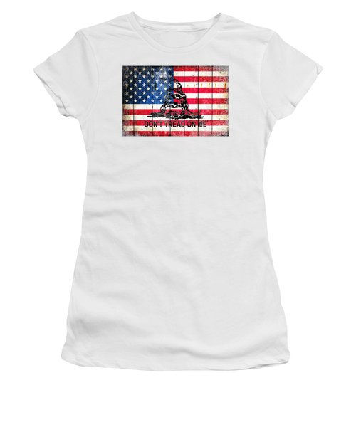 Viper On American Flag On Old Wood Planks Women's T-Shirt (Junior Cut) by M L C