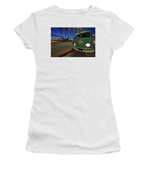 Volkswagen Bus At The Imperial Beach Pier Women's T-Shirt
