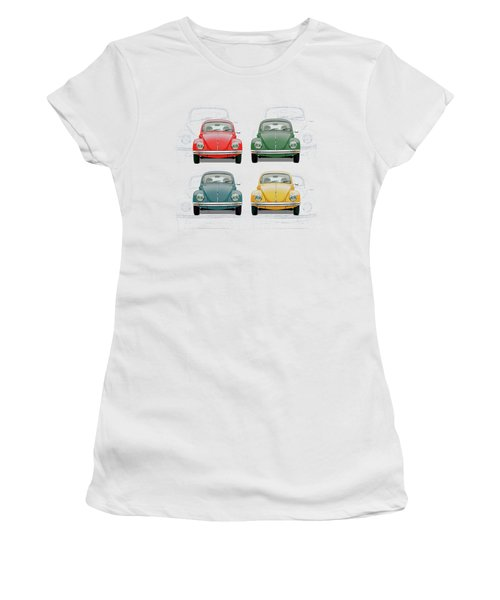 Volkswagen Type 1 - Variety Of Volkswagen Beetle On Vintage Background Women's T-Shirt (Athletic Fit)