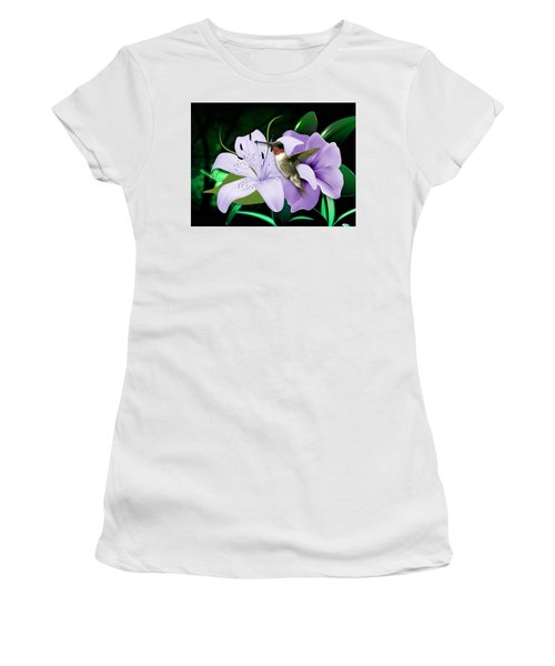 Women's T-Shirt (Athletic Fit) featuring the mixed media Voyage Hummingbird by Marvin Blaine