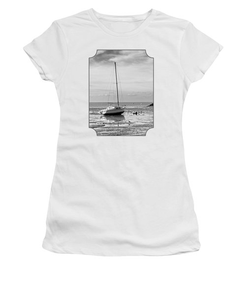 Waiting For High Tide Black And White Women's T-Shirt (Athletic Fit)
