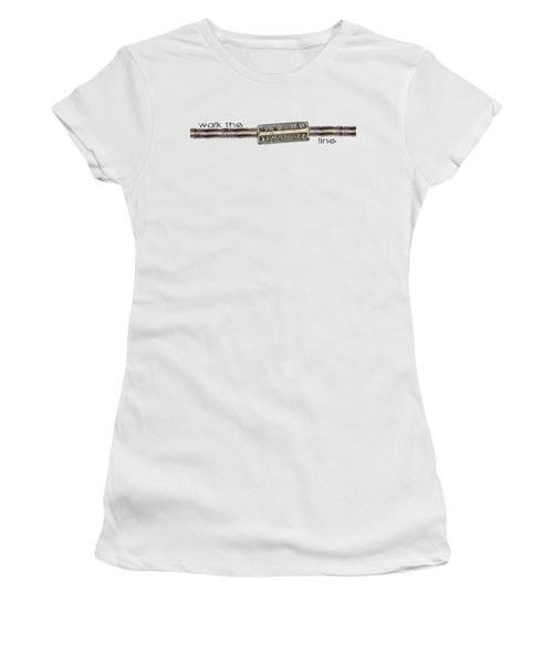 Women's T-Shirt (Junior Cut) featuring the digital art Walk The Line by Heather Applegate