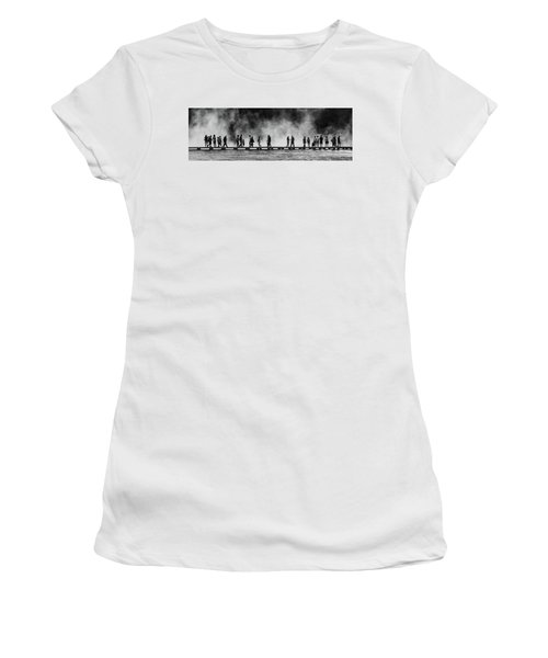 Women's T-Shirt (Athletic Fit) featuring the photograph Walking The Thermals Pano by Lon Dittrick