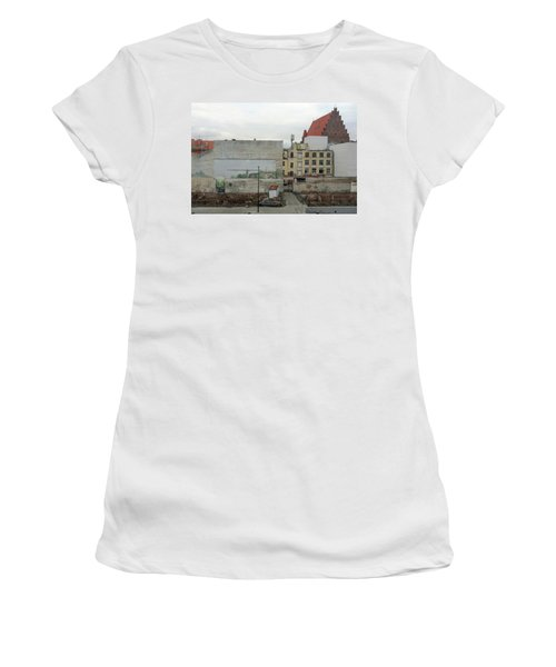 Women's T-Shirt (Athletic Fit) featuring the photograph street and walls in Wroclaw, Poland by Dubi Roman