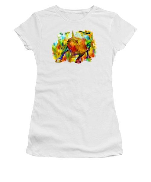 Wall Street Bull Women's T-Shirt (Junior Cut) by Jack Zulli