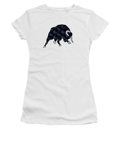 Women's T-Shirt featuring the painting Wall Street Bull Market Series 1 T-shirt by Edward Fielding