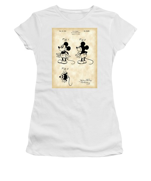 Walt Disney Mickey Mouse Patent 1929 - Vintage Women's T-Shirt (Athletic Fit)