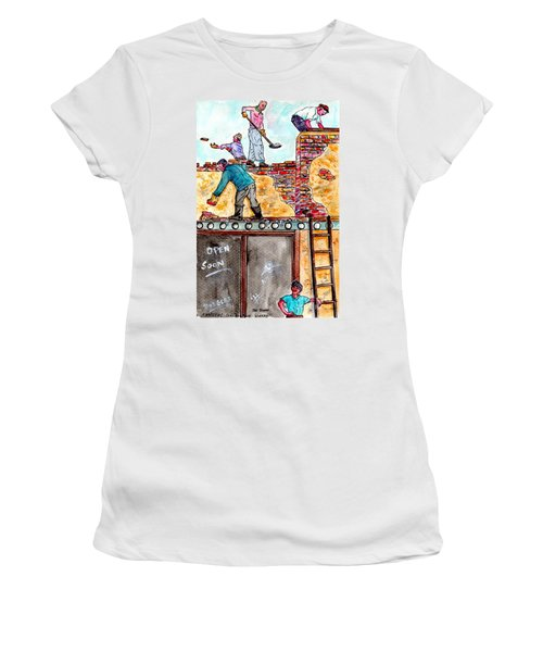 Watching Construction Workers Women's T-Shirt (Athletic Fit)