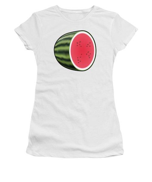 Water Melon Outlined Women's T-Shirt (Junior Cut) by Miroslav Nemecek