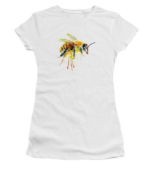 Watercolor Bee Women's T-Shirt (Junior Cut) by Marian Voicu