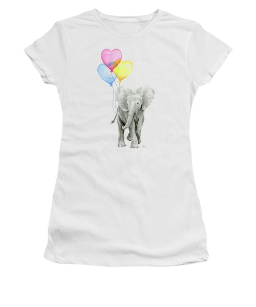 Watercolor Elephant With Heart Shaped Balloons Women's T-Shirt (Athletic Fit)