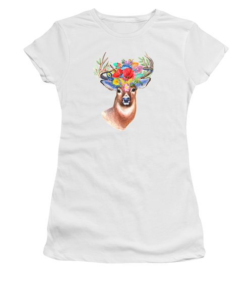 Watercolor Fairytale Stag With Crown Of Flowers Women's T-Shirt (Athletic Fit)