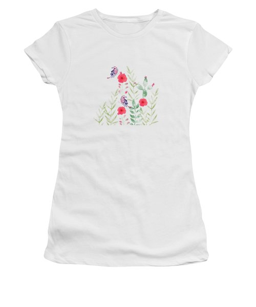 Watercolor Floral And Butterfly Women's T-Shirt