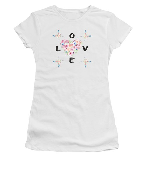 Women's T-Shirt (Junior Cut) featuring the painting Watercolor Flowers Arrows Love Typography by Georgeta Blanaru
