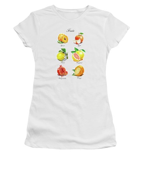Watercolor Fruit Illustration Collection I Women's T-Shirt (Athletic Fit)