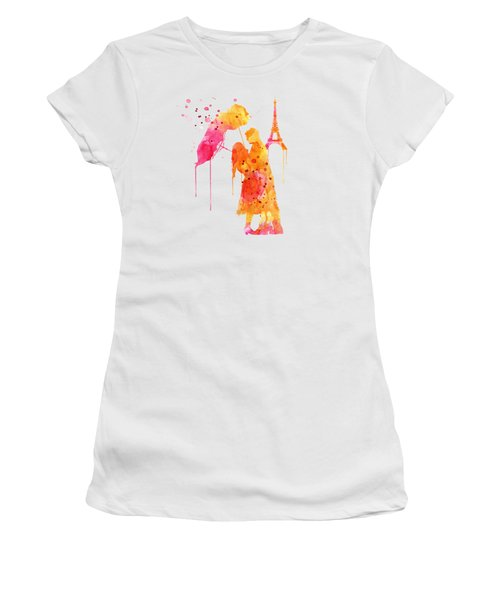 Watercolor Love Couple In Paris Women's T-Shirt (Junior Cut) by Marian Voicu