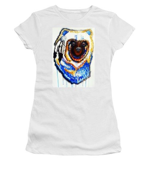 Watercolor Painting Of Spirit Of The Bear By Ayasha Loya Women's T-Shirt (Junior Cut) by Ayasha Loya
