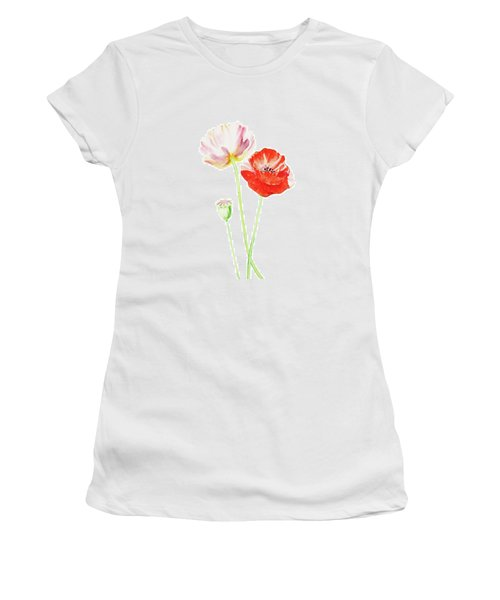 Women's T-Shirt (Athletic Fit) featuring the painting Watercolor Poppies by Irina Sztukowski