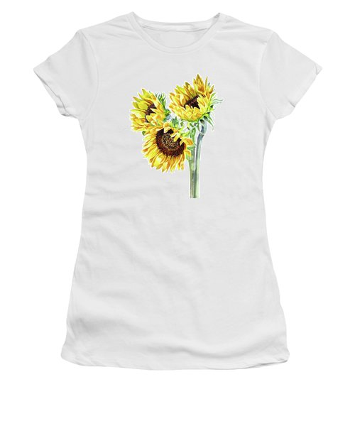 Women's T-Shirt (Athletic Fit) featuring the painting Watercolor Sunflowers Bouquet  by Irina Sztukowski