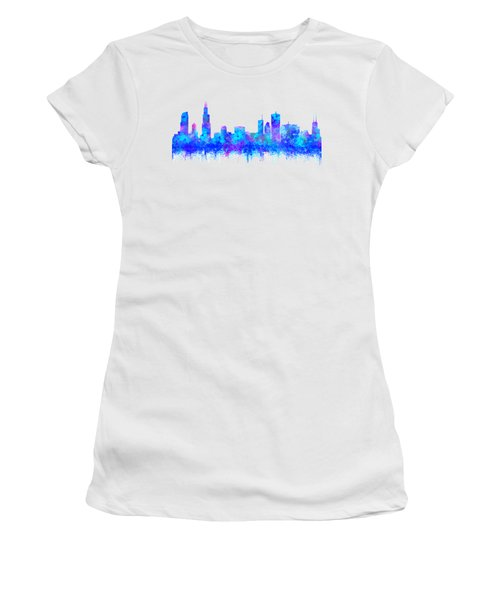 Watercolour Splashes And Dripping Effect Chicago Skyline Women's T-Shirt (Athletic Fit)