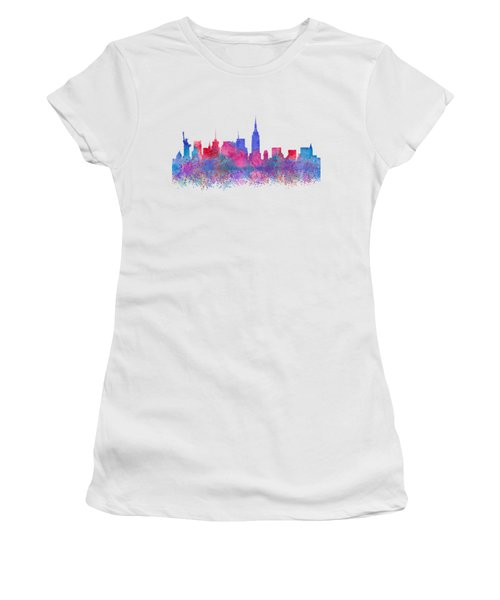 Watercolour Splashes New York City Skylines Women's T-Shirt