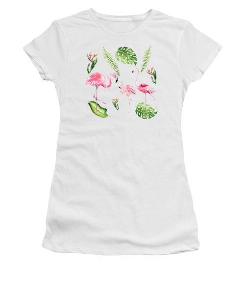 Watercolour Tropical Beauty Flamingo Family Women's T-Shirt