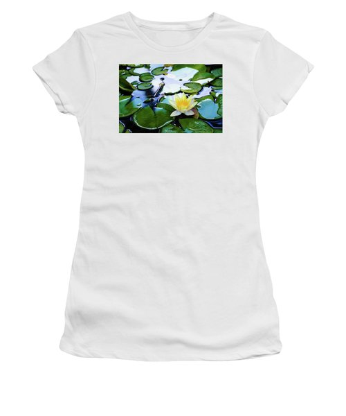 Waterlilly On Blue Pond Women's T-Shirt