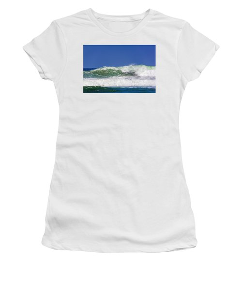 Women's T-Shirt featuring the photograph Wave Rolling To The Beach by Randy Bayne