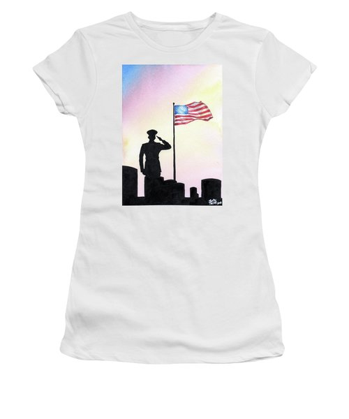 Women's T-Shirt featuring the painting We Remember by Betsy Hackett