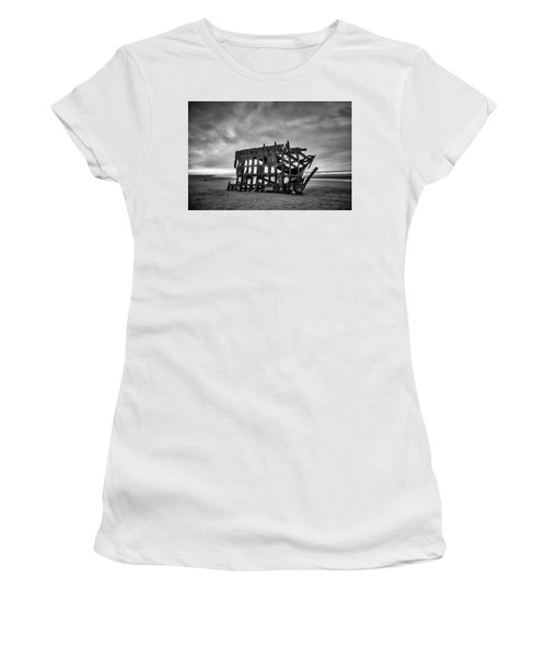Weathered Rusting Shipwreck In Black And White Women's T-Shirt (Athletic Fit)