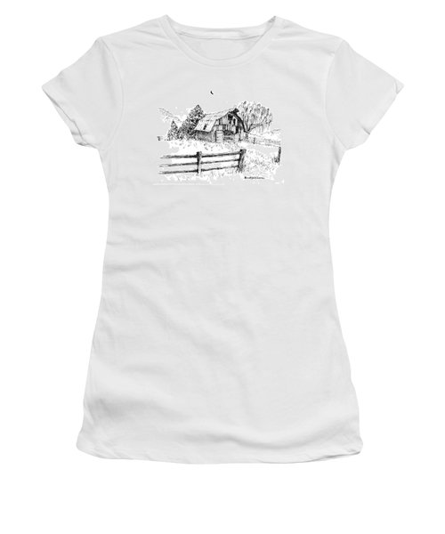 Weeping Willow And Barn One Women's T-Shirt (Athletic Fit)