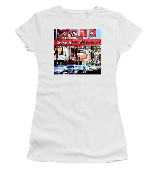 Welcome To Chinatown Sign Red Women's T-Shirt (Junior Cut) by Marianne Dow