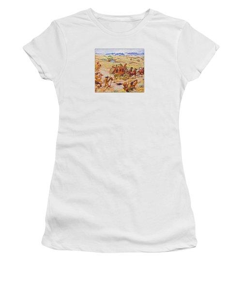 Wells Fargo Express Old Western Women's T-Shirt (Junior Cut) by Susan Leggett