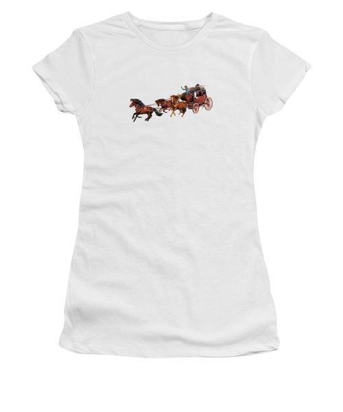 Wells Fargo Stagecoach Women's T-Shirt (Junior Cut) by Glenn Holbrook