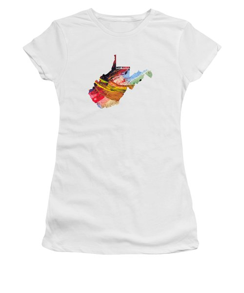 West Virginia Map Art - Painted Map Of West Virginia Women's T-Shirt