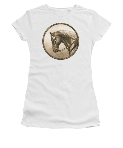 Western Pleasure Quarter Horse In Sepia Women's T-Shirt (Athletic Fit)