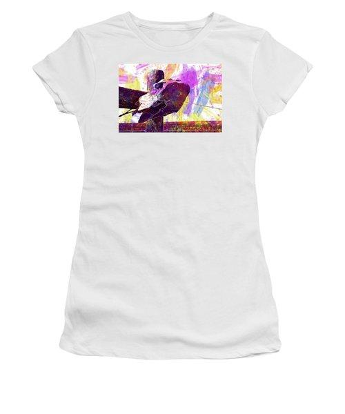 Women's T-Shirt (Athletic Fit) featuring the digital art Western Skull Farm Trophy Skeleton  by PixBreak Art